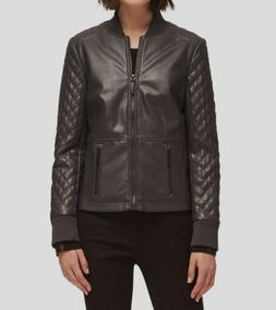 DKNY $159 Womens New 1119 Black Faux Leather Quilted Jacket