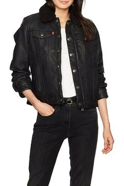 $180 Levi's Womens Classic Sherpa Lined Faux Leather Trucker