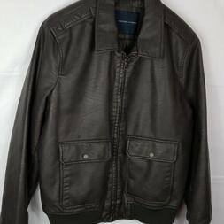 $195 Tommy Hilfiger Brown Winter Casual Faux Leather Bomber