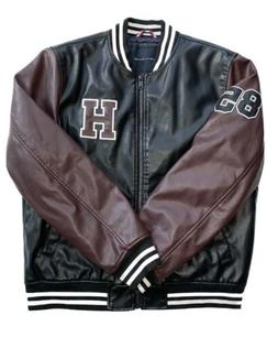$225 TOMMY HILFIGER Mens Brown Leather Varsity Bomber Jacket