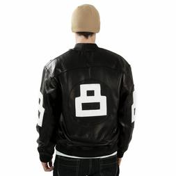 8 Ball Leather Jacket Bomber Style Black Leather Jacket
