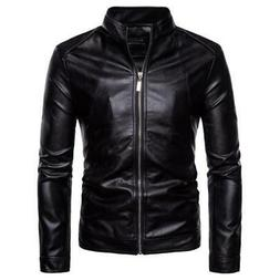 AOWOFS Leather Jacket Men 2018 Autumn Casual Solid Zipper Mo