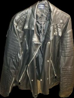 Aowofs Leather jacket with Skull and Crossbones