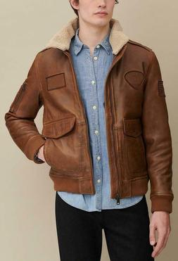 TOMMY HILFIGER Aviator 100% Real Leather Jacket Brown with R