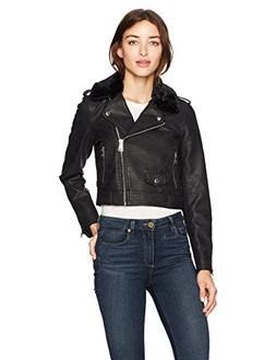Levi's Women's Belted Assymetrical Motorcycle Jacket, Black,