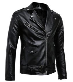 Benibos Men's Classic Police Style Faux Leather Motorcycle J