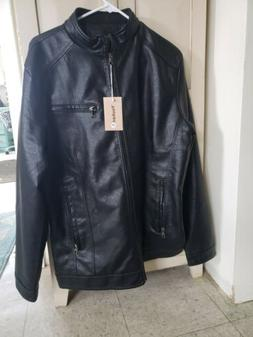 Youhan black Faux Leather Coat Jacket. NWT. Men's Lg