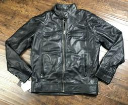 The Leather Factory Black Leather Biker Motor Jacket Mens Sz
