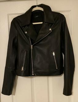 Theory Black Leather Grain Moto Women's Zippered Jacket Me