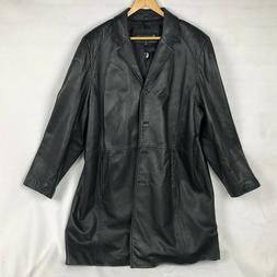 Kenneth Cole Reaction Black Long Length Leather Jacket Women