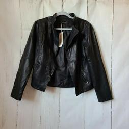 Tanming black pu leather zippered motto jacket new Size Smal