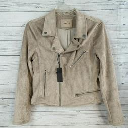 BLANK NYC Womens Moto Jacket LARGE Faux Leather Zip Sleeves