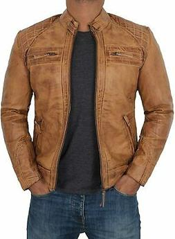 Blingsoul Leather Jackets for Men - Brown Real Lambskin Mens