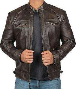 Blingsoul Mens Leather Jacket - Distressed Brown Motorcycle
