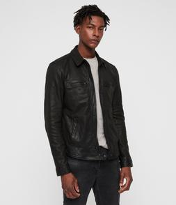 "BNWT £318 All Saints Lark Leather Jacket ""L"" Worldwide Ship"
