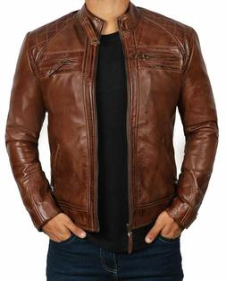 Brown Leather Jacket For Men - Distressed Genuine Motorcycle
