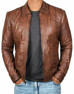 Brown Leather Jacket Men - Genuine Lambskin Mens Leather Jac