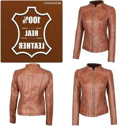 Blingsoul Brown Womens Leather Jacket - Motorcycle Real Lamb
