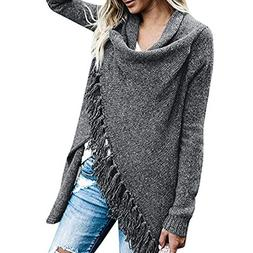 Mysky Women Casual Stripes Poncho Tassels Slash Gradient Sha