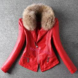 Casual Women's Faux Leather Punk Biker Coats Fur Collar Slim