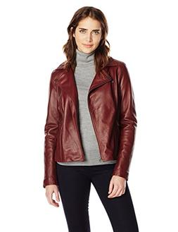 Tommy Hilfiger Women's Classic Leather Motorcycle Jacket, Ox