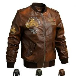 Fashion Faux Leather Mens Motorcycle Biker Coat Embroidery B