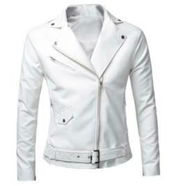 Fashion Men's Leather Jacket Slim Fit casual Jacket Coat Out