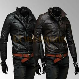 Fashion Men's Leather Jacket Slim Fit Jacket Outerwear Biker