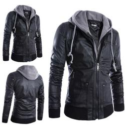 Fashion Slim Fit Hooded Men's Black Motorcycle PU Leather Ja