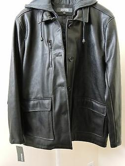 Kenneth Cole Reaction Faux Leather Black Bomber Jacket Size