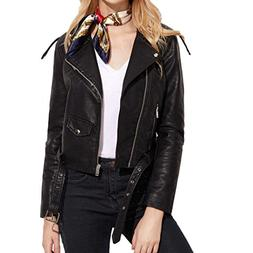 Faux Leather Cropped Jacket Teen,Hemlock Juniors Women Turnd