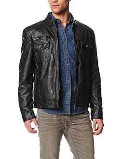 Kenneth Cole REACTION Men's Faux-Leather Moto Jacket, Black,