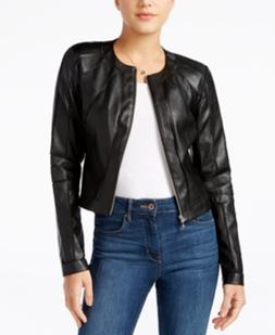 Guess Faux-Leather Moto Jacket Coat Black L NWT New $98