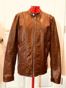 Kenneth Cole Reaction Faux Leather Motocycle Jacket XXL Brow