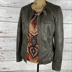 Made By Johnny Faux Leather Motto Jacket Brown L