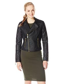 Celebrity Pink Juniors' Faux Leather Quilted Jacket, Black,