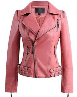 Benibos Womens Faux Leather Zip Up Moto Biker Jacket with Ma