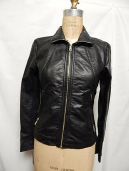 Kenneth Cole Reaction Faux Leather Zippered Cuff Jacket Blac