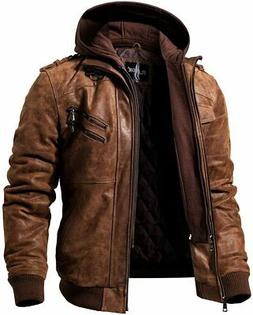 FLAVOR Men Brown Leather Motorcycle Jacket with Removable Ho