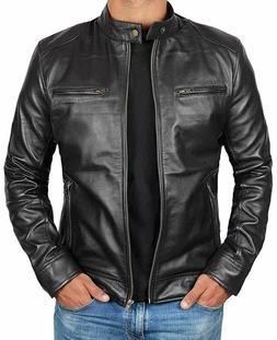 Genuine Black Leather Jacket Men - Lambskin Motorcycle Mens