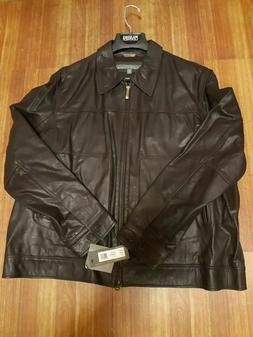 Kenneth Cole Reaction Genuine Leather Brown Jacket size XXL