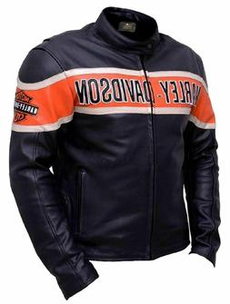 Mens Harley Davidson Motorcycle Cow-Hide Leather Jacket Vict