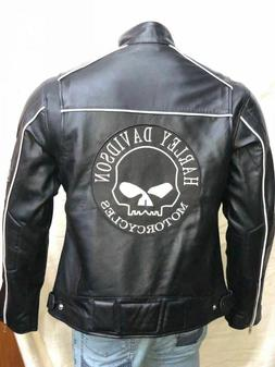 Harley Davidson Men Reflective Willie G Skull Black Leather