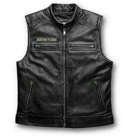 Harley Davidson Men's Genuine Real Leather Biker Vest Jacket