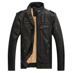 High Quality Warm Jacket PU Faux Leather Men's Coat Velvet O