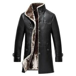 Hot Mens Winter Trench Coat Leather Warm Fur Lining Long Jac