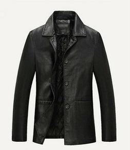 hot winter mens warm real leather jacket