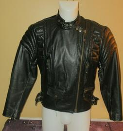 INCREDIBLE LEATHER JACKET Vintage 80's PADDED BIKER TOP QUAL