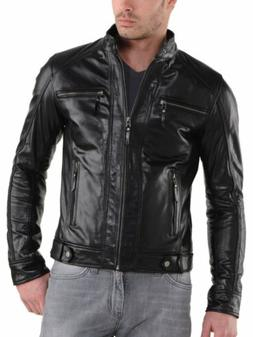 Jacket Leather Mens Moto Outwear Men Jackets Coat Real Lambs