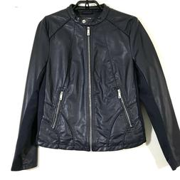 Kenneth Cole Reaction Jacket  Size L Faux Leather Navy Blue